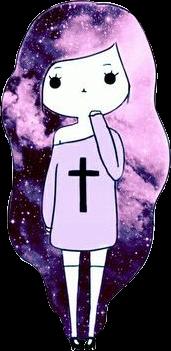animegirl galaxyhair galaxy cross girl freetoedit