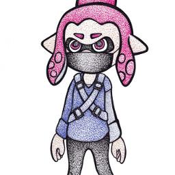 splatoon art pointillism drawing squid