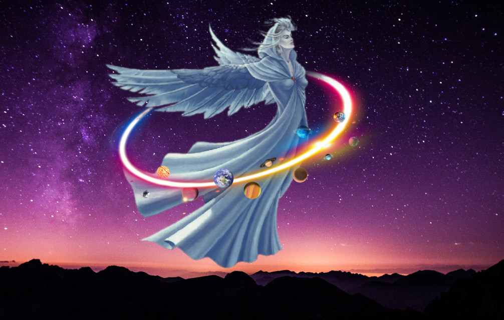 #freetoedit #angel #ring #nightsky #mountains #planets #nightangel