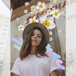 freetoedit flower scribble girl