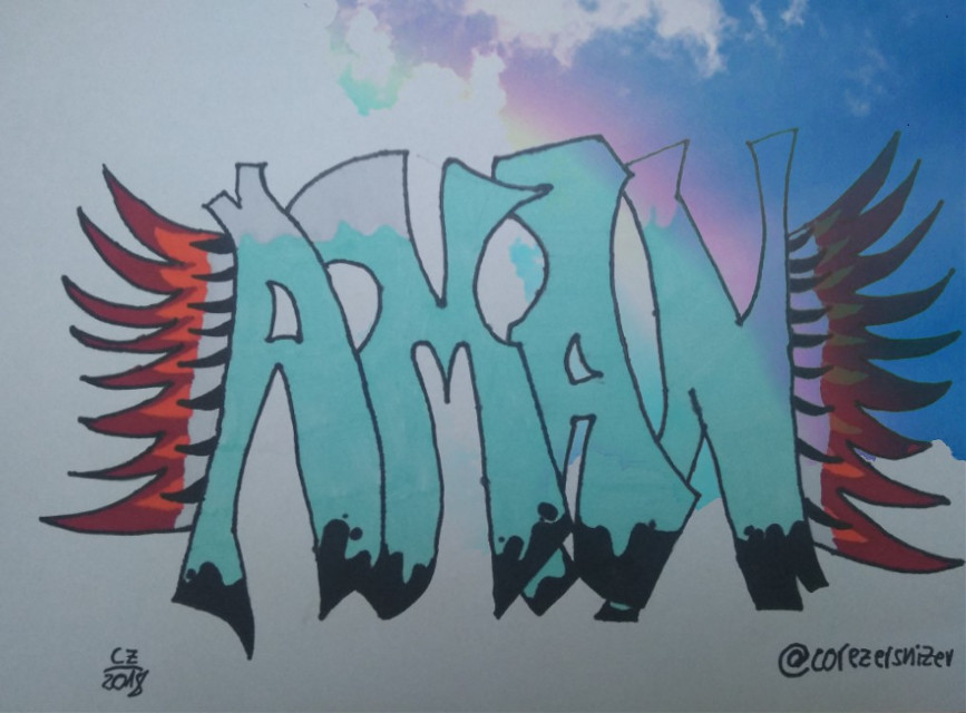 """#freetoedit """"I draw your name"""" #16 Today: Aman - You are in the sky... @amandaharwal ! This one needs the most time ever for a drawing of me... Over 2 hours. Hope you like it! 😃 #cz2018 #aman #graffiti #drawing #sky #wings #idrawyourname #rainbow #colorful #dcgraffitistyle"""