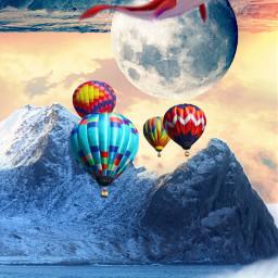 freetoedit balloon sea montain surreal wapcutout