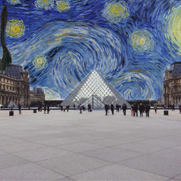 freetoedit paris france louvre starrynight