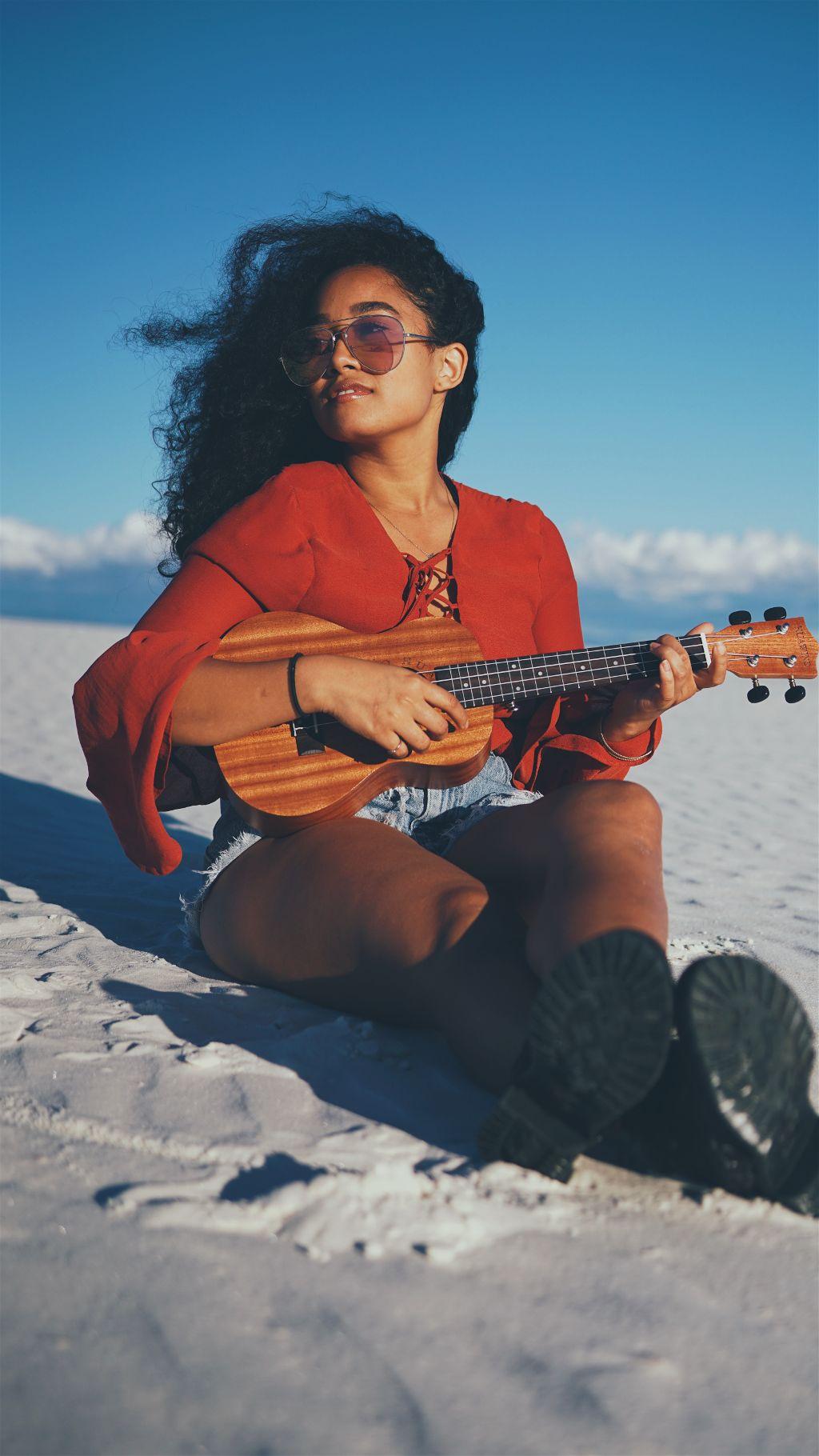 Create a magical remix! Unsplash (Public Domain) #freetoedit #girl #guitar #outdoor #wind #nature