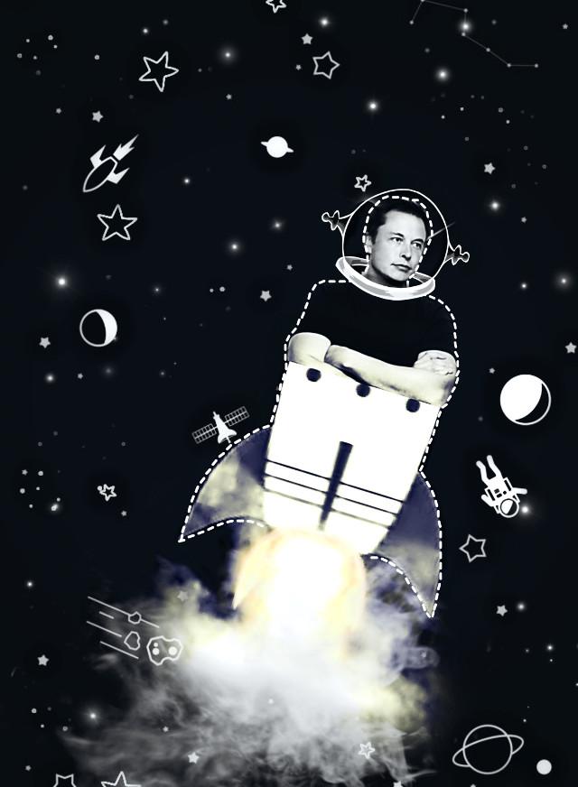 #freetoedit #Space #ElonMusk #rockets #stars #astronaut #picsartbrushes #cutout