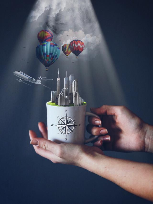 The travel mug....  #freetoedit #travel #mug #madewithpicsart