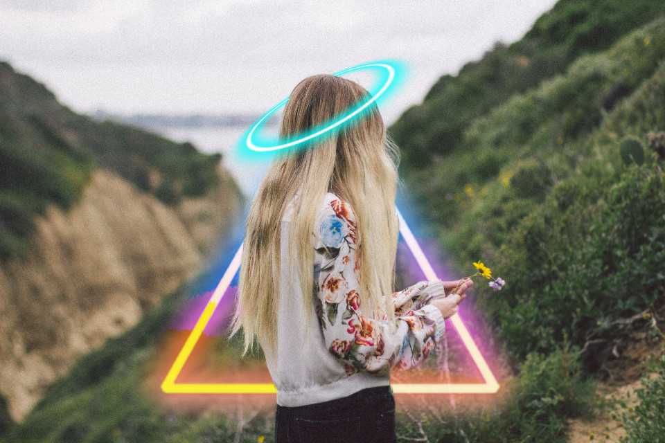 #freetoedit #girl #nature #neon #light #triangle #effects #circle #crown