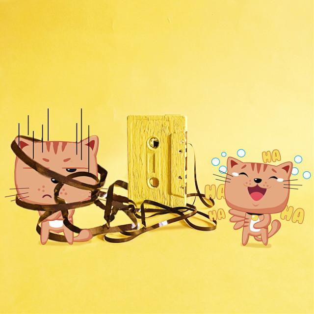 #freetoedit #cats #cartoons #cassette #tape #yellow #stickers #picsart #remixed #remixme #remixit