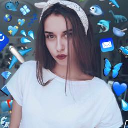 art blue grunge emojis girl freetoedit