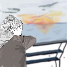 freetoedit sunset girl draw lake