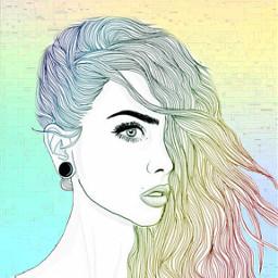 freetoedit rainbow glich girl cool