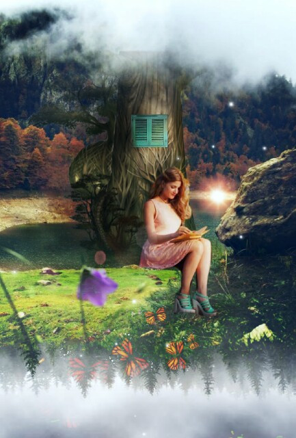 #freetoedit #reading #girl #book #nature #surreal #tree #doubleexposure #contest #lensflare #butterflies #createsomethingneweveryday #beautiful #thegreatoutdoors