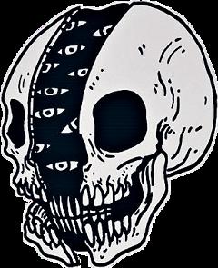 skull aesthetic blackandwhite lineart art freetoedit