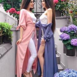 twins girls bffs4ever flowers