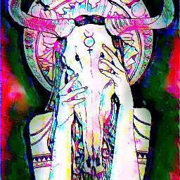 woman devil horns skullhead simbology freetoedit