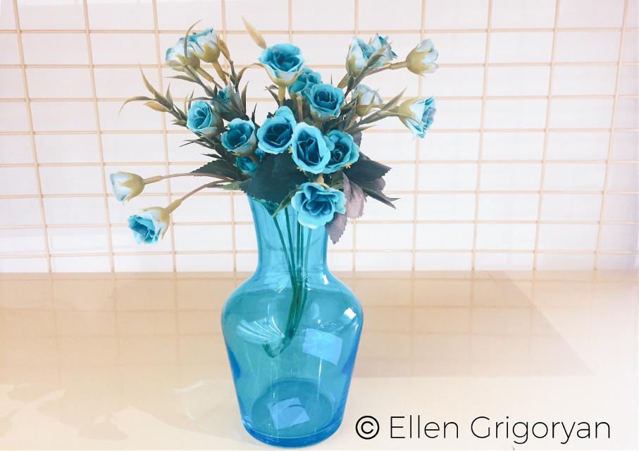 #freetoedit #vase #bottle #blueflowers