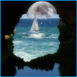 cave moon yachting seascape freetoedit srcwhitemoon