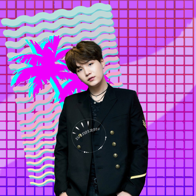 ❁ yoongi for @stupiddogo  • i think this is my first time really trying vaporwave? Tell me what you think.  { bts requests are always open } ✧credits✧   ◌ yoongi from @/ _park_jimso_    ◌ grid from @/ sailorsaturno    ◌ lines from @/ meorami    ◌ trees from @/ carollowlow  ↳ tags↴ #freetoedit #minyoongi #vaporwave #bts #bangtanboys #beyondthescene #kpop #suga #yoongi