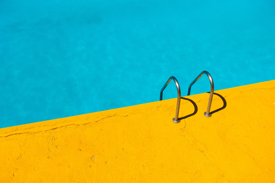 Discover  your inner artist! Unsplash (Public Domain) #freetoedit #pool #yellow #blue #colors #lines