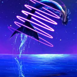 mermaid oceannight neonpurple freetoedit