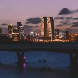 city night sunset building lake freetoedit