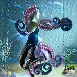 freetoedit animalhuman octopus octolady echumananimalhybrid