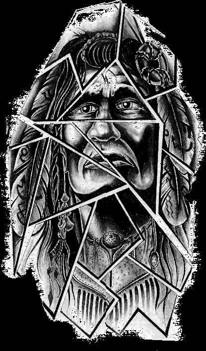 tattoo apache indian man blackandgrey blackart...