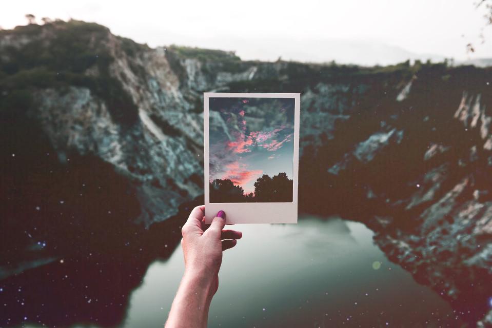 #freetoedit #sunset #polaroidphoto #mountains #water #sparkles #stars #art #polaroid #madewithpicsart #piscart