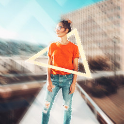 freetoedit girl orange triangle jeans