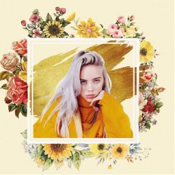 freetoedit billieeilish billie flowers yellow