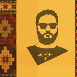 armenian yellow ornament carpet ethnic