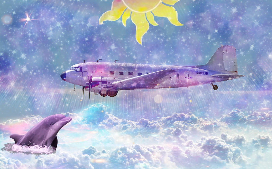 #freetoedit  #plane #galaxy  #sky