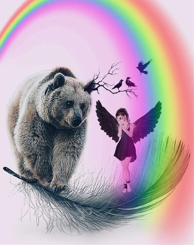 #freetoedit #fantasyart #woman #blackangel #bear #minimaledit #myedit #madewithpicsart