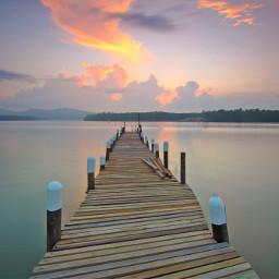 freetoedit wood bridge sunset nature
