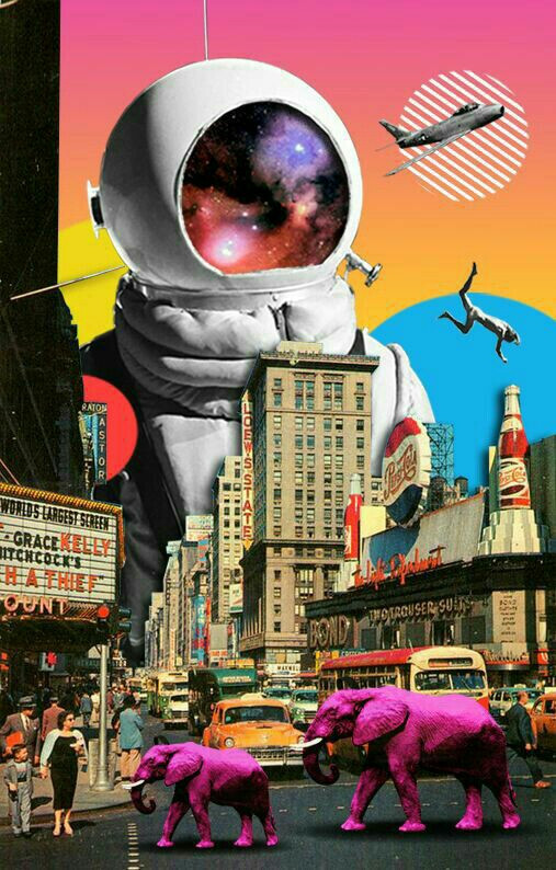 Fantastic City #elephant #astronaut #space #irreal #fantasy #colorfull #city