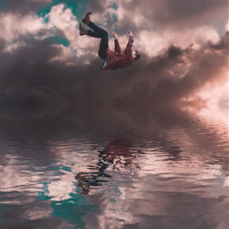 surreal cloudy water fall dreamy