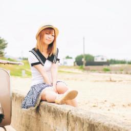 vespa woman holiday summer longhair