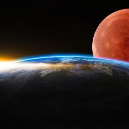 freetoedit bloodmoon galaxy earth moon