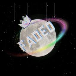 freetoedit moon rainbow galaxy glitch