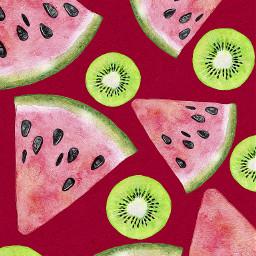pattern watermelon kiwi fruits summerdays