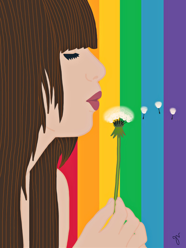 #freetoedit #dandelion #rainbow #wish #portrait #girl #myillustration #madewithpicsart #iphoneonly