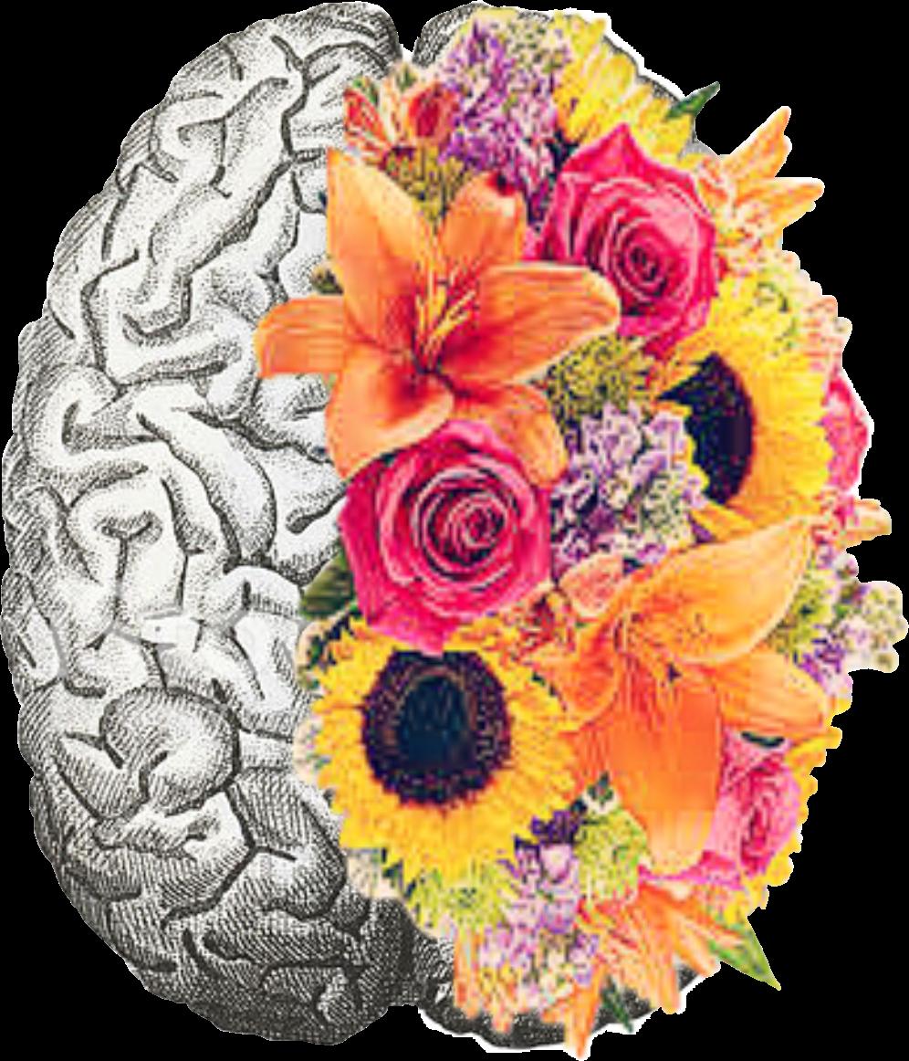 brain flower mentalhealth freetoedit