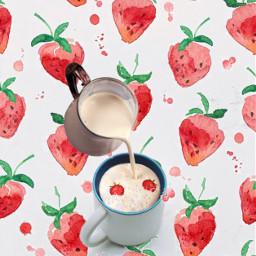 freetoedit strawberries strawberrymilk strawberry cup