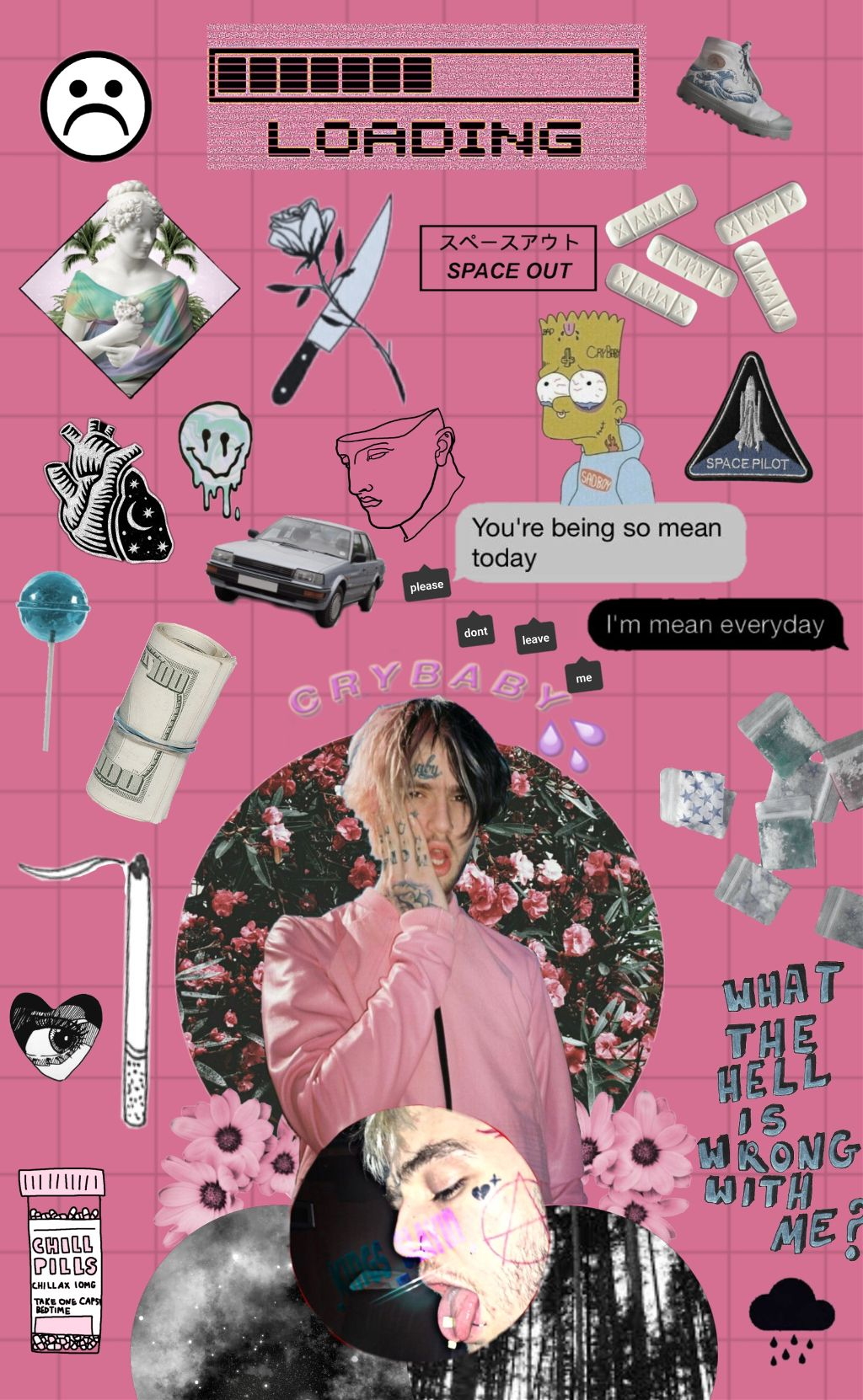 Lilpeep Pink Collage Wallpaper Aesthetic