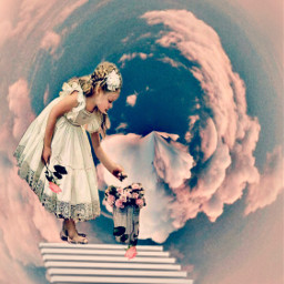 tinyplanet girl stairs pink roses freetoedit