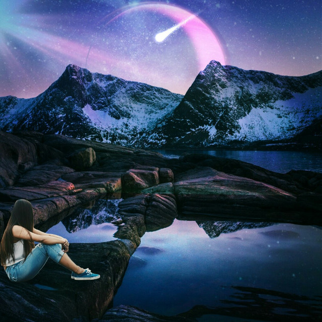 #freetoedit #galaxyvibes #moon #shootingstar #girl
