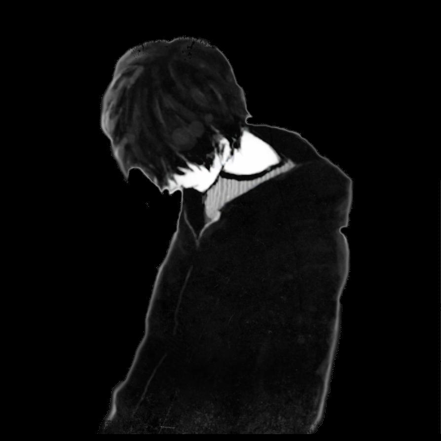 sad boy black only me Anime boy...