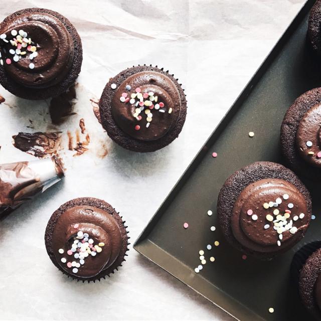 Dark Chocolate Fudge Cupcake #birthday #party #photography #food #cupcake #rainbow #color #chocolate #baking #freetoedit