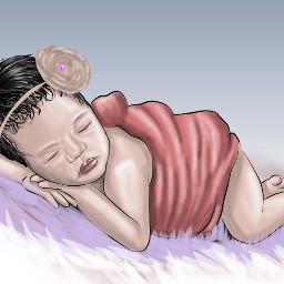 cartoonized draw digitalpainting babygirl freetoedit
