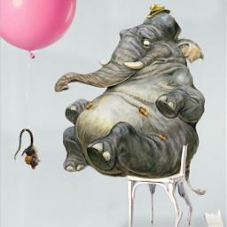 freetoedit pinkballoon chair broken elephant scared ftestickers